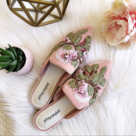 Jeffrey Campbell Shoes - Jeffrey Campbell pink velvet loafer mules